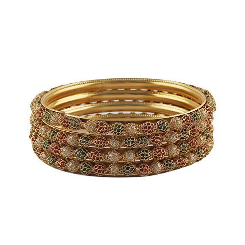 Alista Jewellery Traditional Gold Plated Pearl Bangles set for Women and Girls (AJKG1100619)