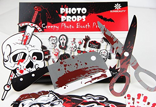 PAPERJAZZ 22PCS Scary Halloween zombie party Photo Booth Stick Props DIY Kit Funny Photo Booth Halloween Party Decorations