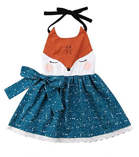 Toddler Baby Kids Girls Cute Fox Lowrie Summer Sleeveless Backless Halter Dress Little Dots Bowknot Dress (Blue, 120/4-5 Years) ()