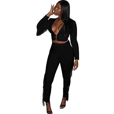 43e9552c623b Amazon.com: STANISLAVA VAHAN Sexy Women Deep V Neck Crop Top Long Pants Set  Casual Long Sleeve Tassel 2 Piece Set: Clothing