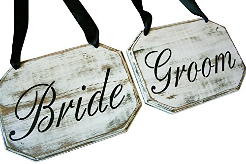 Rustic Wedding Country Barn Farmhouse Wedding Bride & Groom Chair Sign Rustic Wedding Sweetheart Table Signs Chair Decor Chair Sash Country Wedding (Distressed White)