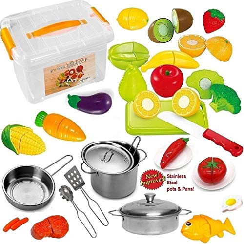 Plastic Fake Food (FUNERICA Pretend Play Food Set for Kids - with Beautiful Storage Container - Set Includes Cuttable Play Fruits and Vegetables - Poultry - 3 Mini Stainless Steel Toy Pots and Pans - Knife and More)