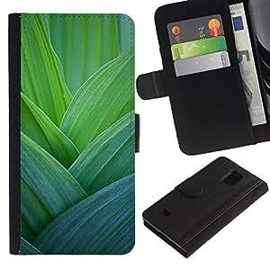 iBinBang / Flip Funda de Cuero Case Cover - Hojas Naturaleza floral de la primavera - Samsung Galaxy S5 Mini, SM-G800, NOT S5 REGULAR!