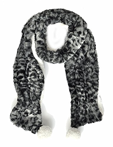 Faux Fur Leopard Print Scarf Long Plush Scarves Winter Thick Womens Grey