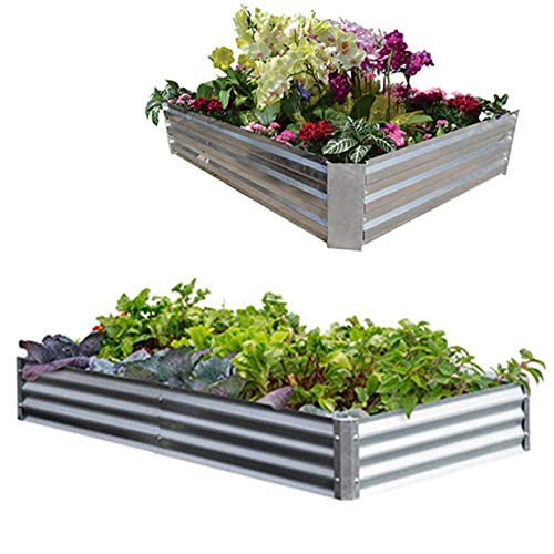 Metal Frame Raised Garden Bed Kit(Multi Sizes) – Elevated Planter Box for Growing Herbs, Vegetables, Greens, Strawberries, Flowers; Above Ground Galvanized Flower Bed kit 4 x 4 ft or 6 x 2 ft