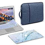 GMYLE 3 in 1 Bundle Blue Marble Stone Soft-Touch Matte Hard Case for Macbook Air 13 inch (A1369/A1466) Navy Blue Water Repellent Laptop Sleeve with Handle and with Serenity Blue Silicon Keyboard Cover
