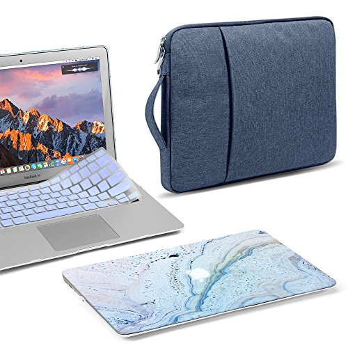 GMYLE 3 in 1 Bundle Blue Marble Stone Soft-Touch Matte Hard Case for Macbook Air 13 inch (A1369/A1466) Navy Blue Water Repellent Laptop Sleeve with Handle and with Serenity Blue Silicon Keyboard Cover by GMYLE