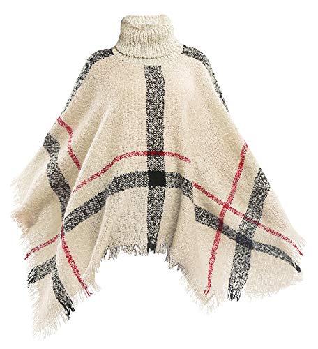 (Women's Fringe Cape Long Shawl Big Grid Winter Warm Lattice Large Scarf, Beige)