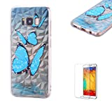 Funyye Crystal Rubber Case for Samsung Galaxy S8 Plus,Luxury 3D Blue Butterfly Design Slim Fit Flexible Soft Silicone Gel TPU Case for Samsung Galaxy S8 Plus,Anti Scratch Durable Shell Bumper Back Protective Case for Samsung Galaxy S8 Plus + 1 x Free Screen Protector