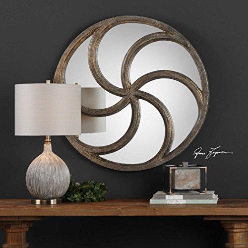 Spiralis Antiqued Silver Round Mirror