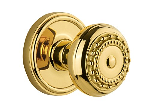 - Grandeur Georgetown Rosette with Parthenon Knob, Single Dummy, Polished Brass