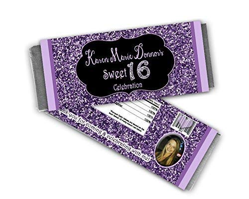 Personalized Purple Glitter Sweet 16 Candy Bar Wrappers Party ()