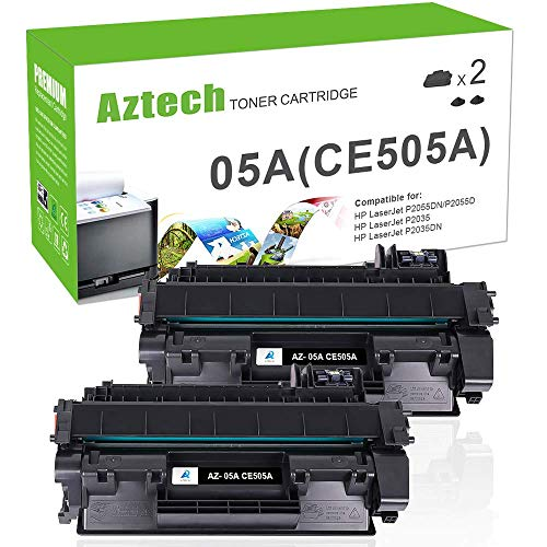 Aztech Compatible Toner Cartridge Replacement for HP 05A CE505A (Black, 2-Packs) (Hp 05a Printer Cartridge)