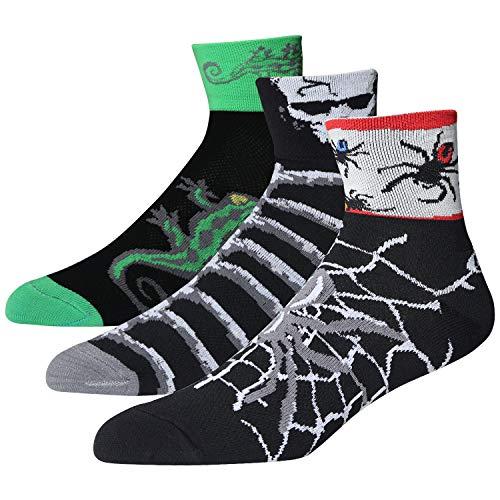 LIN Coolmax Sports Bike Running Spin Class Hiking Gym Training Cool Funny Cycling Socks Pattern Spider Skeleton Lizard, 3 Pack, M(9-11)