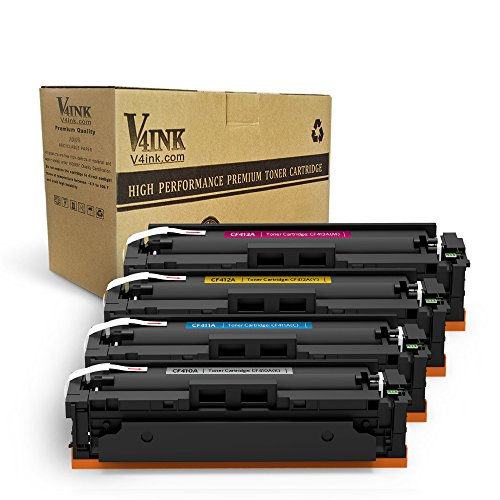 V4INK New Compatible for HP 410A CF410A 410X CF410X Toner Cartridge for HP Color Laserjet Pro MFP M477fdw M477fnw M477fdn M452dw M452dn M452nw M477 M452 Printer (Black,Cyan,Yellow,Magenta),4 Packs