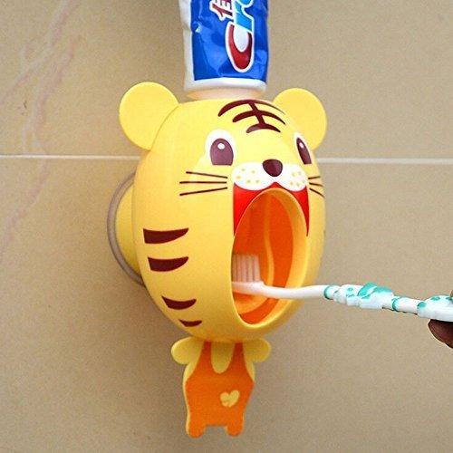 Lexitek baby Toothbrush Dispensers,kids Hands Free automatic toothpaste dispenser Cartoon Cute Animal Toothpaste Squeezer(Tiger) by BigNoseDeer