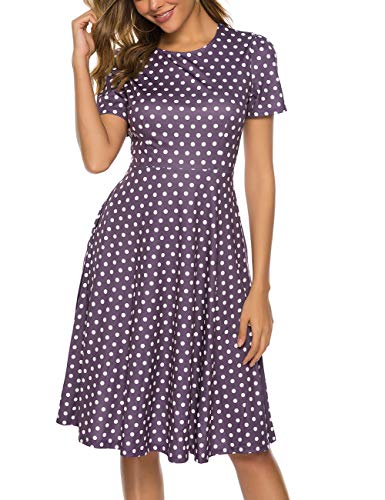 MARI CIAS Women's Floral Vintage Dress 3/4 Sleeve Midi Swing Dresses with Pockets (Floral6, Large)