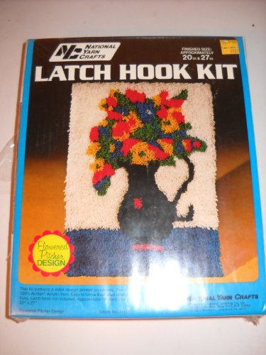 Flowered Pitcher - National Yarn Crafts Latch hook kit VINTAGE flowered pitcher design