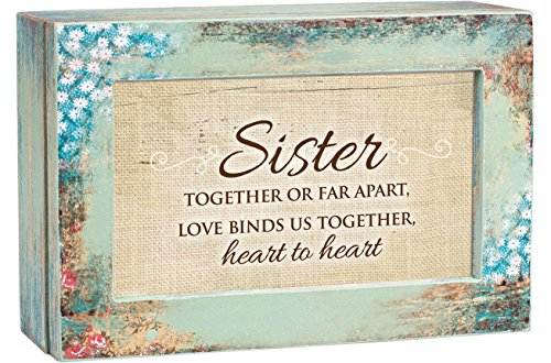 Cottage Garden Sister Together Heart to Heart Distressed Wood Jewelry Music Box Plays Tune Wonderful ()