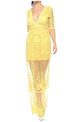 6a2f0b6ba381 Yayu Women s See Through Lace Maxi Romper Dress Short Sleeve Deep V Neck  Dress at Amazon Women s Clothing store