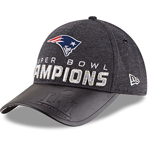 New England Patriots New Era Super Bowl LI Champions Trophy Collection Locker Room 9FORTY Adjustable Hat  Heathered Black