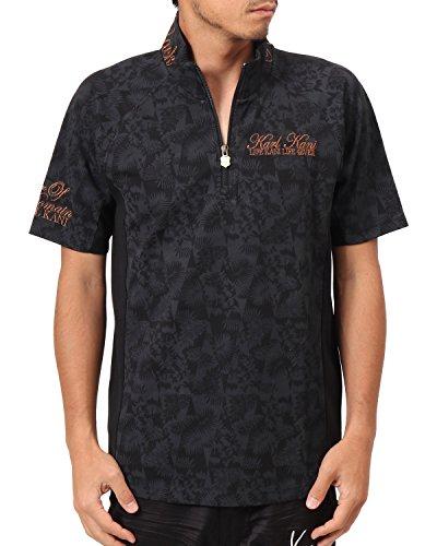 [カールカナイ ゴルフ] Karl Kani GOLF ポロシャツ 吸水速乾 変形パターン ハーフ ZIP リゾート ダイヤ 総柄 ポロ 182KG1210 ブラック Mサイズ