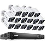 ANNKE 16CH True POE Security Camera System 6MP Full HD NVR Recorder and (16) 1080P 1920TVL Weatherproof IP Cameras with 100ft Super Nigh Vision, Metal Housing