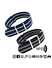 MetaStrap 2pcs 22mm NFC Nylon Watch Band NATO Strap (Black&grey/Navy Blue&White)