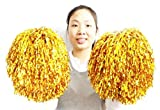 2PCS Cheerleading Cheerleader Poms Bar Ribbon Wands Dancing Flower Ball For Party Sports Accessories Dance Cheer Pom-poms Weddings Team (Golden, Adult Use 100G)