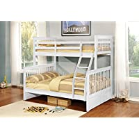 Kings Brand Furniture White Finish Wood Twin Over Full Size Convertible Bunk Bed