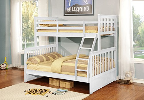 Kings Brand Furniture White Finish Wood Twin Over Full Size Convertible Bunk Bed -