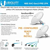 Ubiquiti NBE-5AC-Gen2-US (x2) PRECONFIGURED 5GHz NanoBeam airMax ac CPE Dedicated Management Radio ( 2 Units)