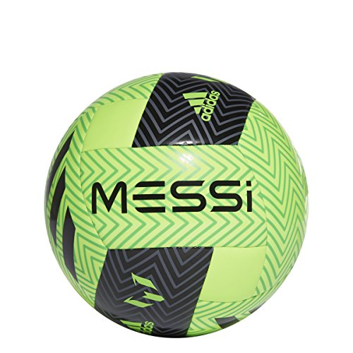 adidas Performance Messi Soccer Ball, Solar Green/Black/Solar Lime, Size 5