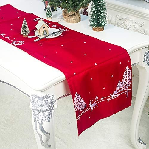 MJ-Brand Camino de Mesa navideño - Decoraciones navideñas Tabla de ...