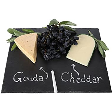 Lily's Home Rustic Slate Cheese Board, Cheese Tray, With Chalk, 16 X 12 Inch.