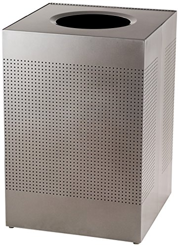 Rubbermaid Commercial FGSC22EPLSM Silhouette Designer Wastebasket, Square Open Top, 40-gallon, Silver Metallic by Rubbermaid Commercial Products