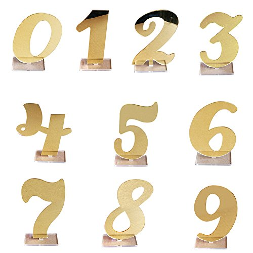 Infgreate Exquisite Ornaments 0-9 Hollowed Standing Numbers Acrylic Decor Wedding Table Plate Sign Centerpiece - -