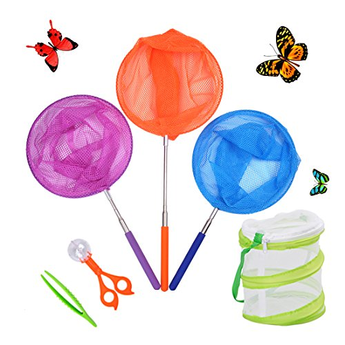 DEWEL 3 Pack Colored Telescopic Butterfly Nets for Kids Bug Insect Catching Net Extendable 34 inch,pop up Insect mesh cage,Butterfly Tweezers