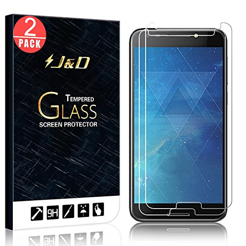 J&D Compatible for 2-Pack Alcatel REVVL/Alcatel A30 Fierce 2017/Alcatel Walters Glass Screen Protector, [Tempered Glass] [Not Full Coverage] Glass Screen Protector for Alcatel REVVL Screen Protector