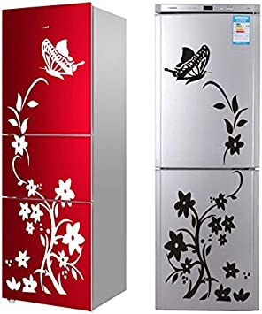 Butterfly Flower Wall Vinyl Stickers For Toilet Kitchen Refrigerator Mural Decal