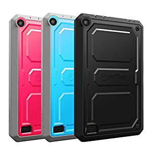"[3-Pack] Fintie Impact Resistant Case for Fire Tablet Variety Pack - Rugged Unibody Dual Layer Hybrid Full Protective Cover for Amazon Fire 7 2015 Tablet (Fire 7"" Display 5th Gen), Black/Blue/Magenta"