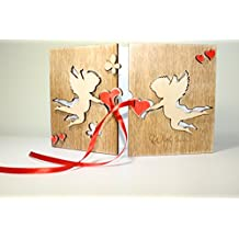 HANDMADE Sustainable REAL WOOD Card LARGE Size ORIGINAL 5 th (fifth) Anniversary Gift or BEST LOVE Card for Him or HER!
