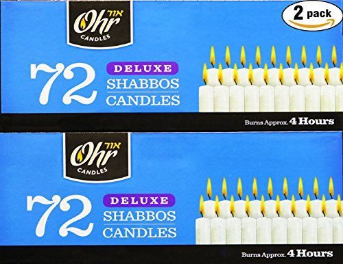 - Shabbat Candles - Traditional Shabbos Candles - 3 Hour - 72 Count, 2 Pack (144 Count) - by Ohr