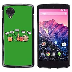CASETOPIA / Funny Vegan Vegetables / LG Google Nexus 5 D820 D821 / Prima Delgada SLIM Casa Carcasa Funda Case Bandera Cover Armor Shell PC / Aliminium