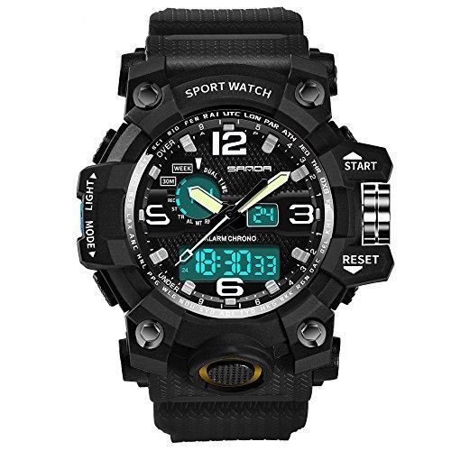 Digital Titanium Bracelet - Sport Watch,Han Shi Luxury Electronic Waterproof Cold Light Casual Wristwatch (Black, M)