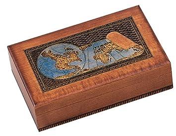 Amazon world map box w detailed world globe motif handmade world map box w detailed world globe motif handmade linden wood keepsake jewelry treasure gumiabroncs Images