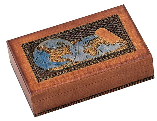 WORLD MAP BOX w/ Detailed World Globe Motif, Handmade Linden Wood Keepsake Jewelry Treasure Collector Box, Desktop Office Home Wooden Box, Desk Access…