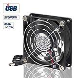 ELUTENG 80mm Fan USB Computer Fan 5V 2700RPM Cooling Fan 8cm Cabinet USB Mini Fan for Receiver DVR Playstation Xbox Computer 80 x 80 x 25m