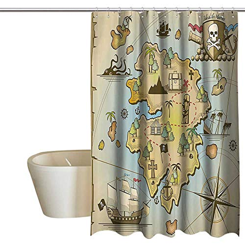 Used, Island Map Decor Collection Shower Curtain Set Cartoon for sale  Delivered anywhere in Canada