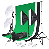 Photo Master Photography Lighting Kits for Video Studio Includes Chromakey Studio Background Stand, 3 x Pure Cotton Backdrops,2 x Umbrellas Kits 2 x Softbox, Carry Bags